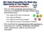 isa value proposition for shale gas opportunity in your region