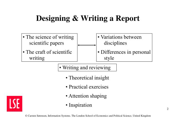 Designing writing a report