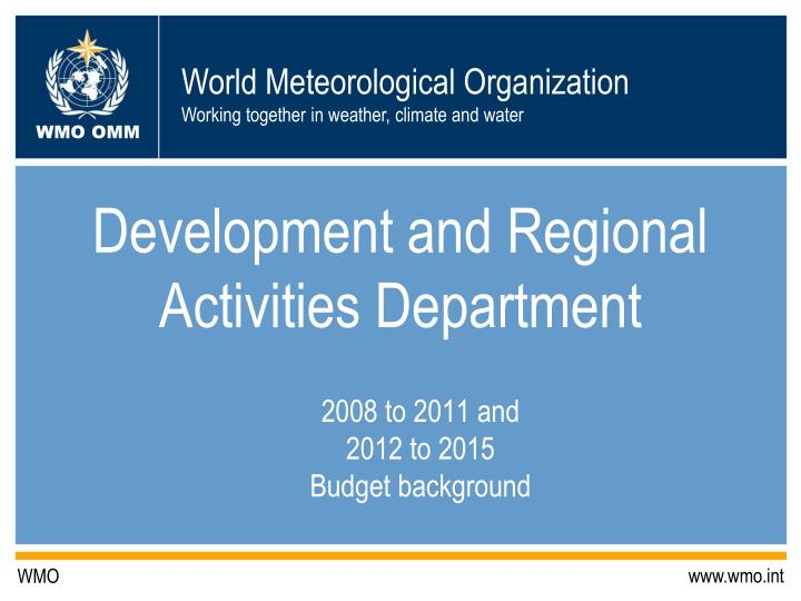 development and regional activities department n.
