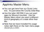 applinks master menu