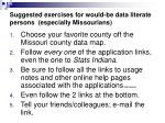 suggested exercises for would be data literate persons especially missourians