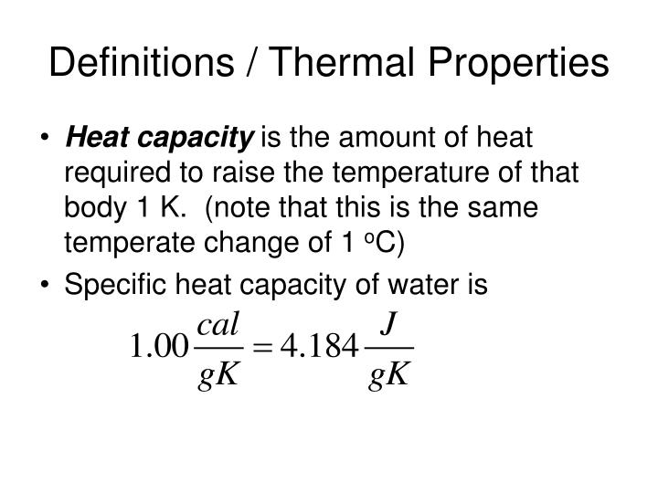 lab specific heat capacity The specific heat capacity and viscosity of vegetal oils (among which our sunflower oil can be found) is described in the article viscosity and specific heat of vegetable oils as a function of temperature: 35 °c to 180 °c.