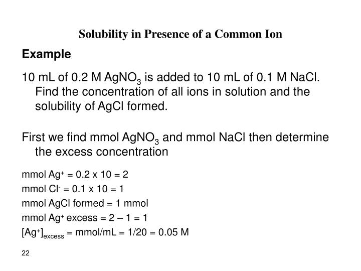 Solubility in Presence of a Common Ion