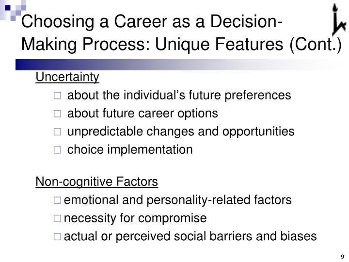 Choosing a Career as a Decision-