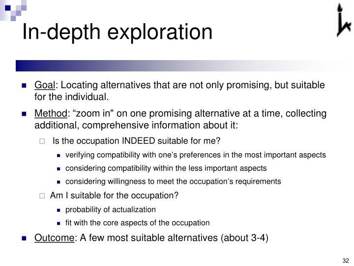 In-depth exploration