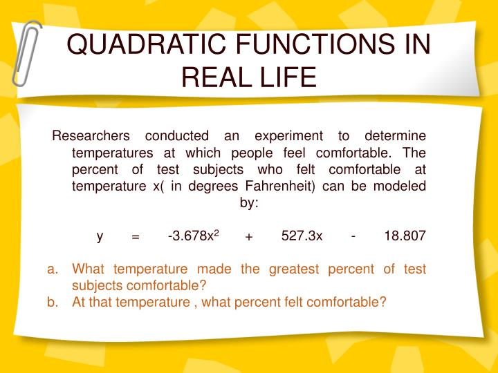 QUADRATIC FUNCTIONS IN REAL LIFE