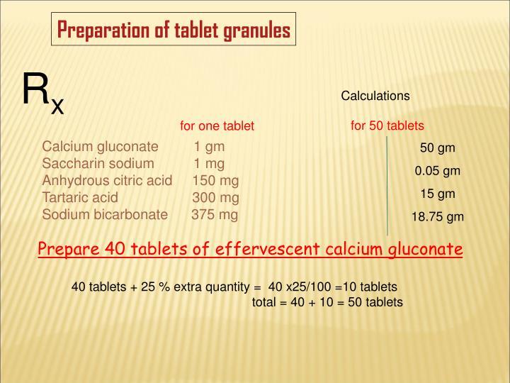 Preparation of tablet granules