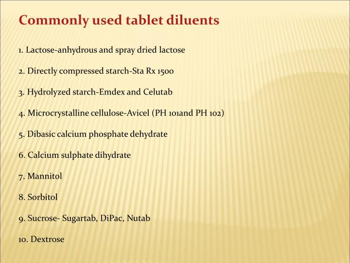 Commonly used tablet diluents