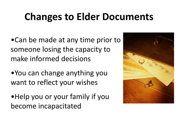 Changes to Elder Documents