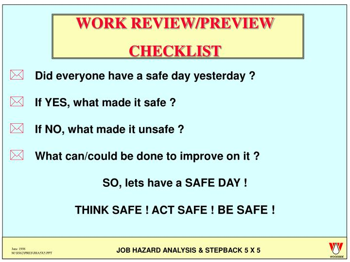 WORK REVIEW/PREVIEW