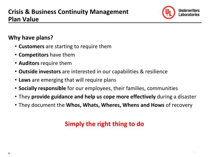 Crisis & Business Continuity Management Plan Value