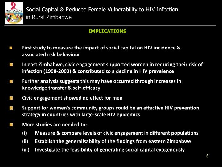Social Capital & Reduced Female Vulnerability to HIV Infection                    in Rural Zimbabwe