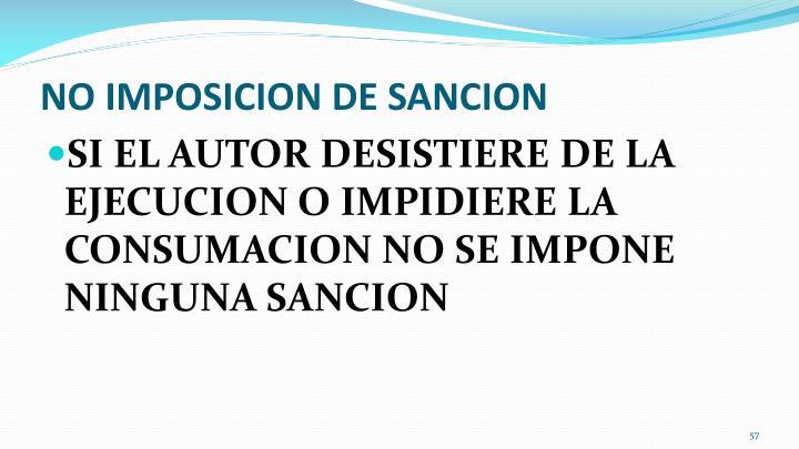 NO IMPOSICION DE SANCION