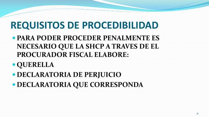 REQUISITOS DE PROCEDIBILIDAD