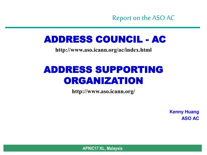 ADDRESS COUNCIL - AC