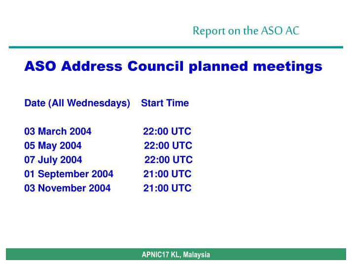 ASO Address Council planned meetings