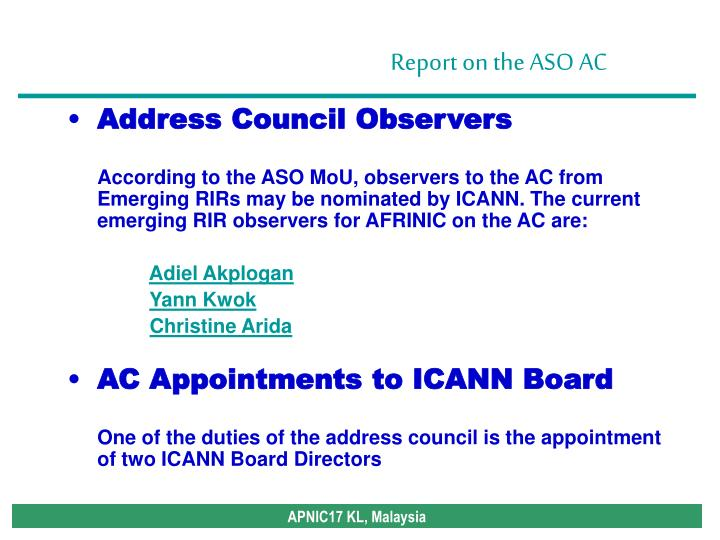Address Council Observers
