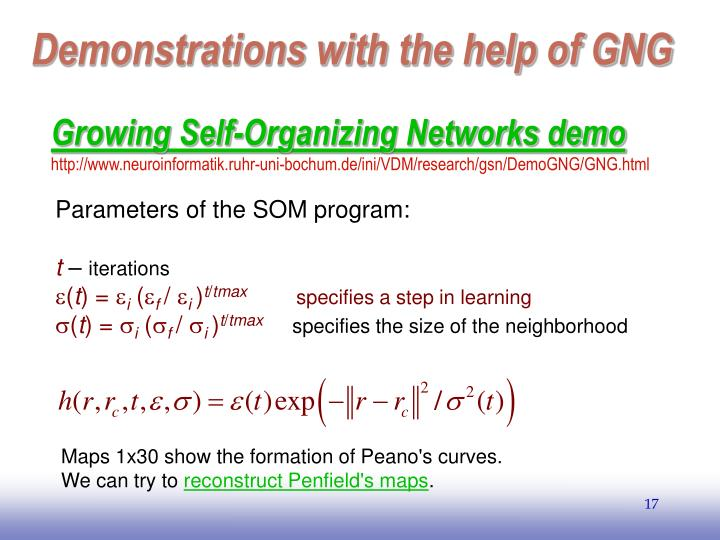 Demonstrations with the help of GNG