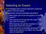 selecting an expert