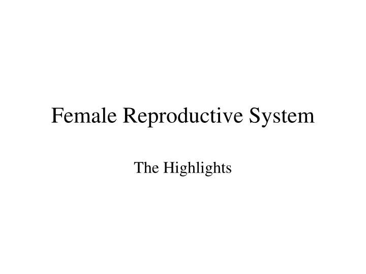 female reproductive system n.