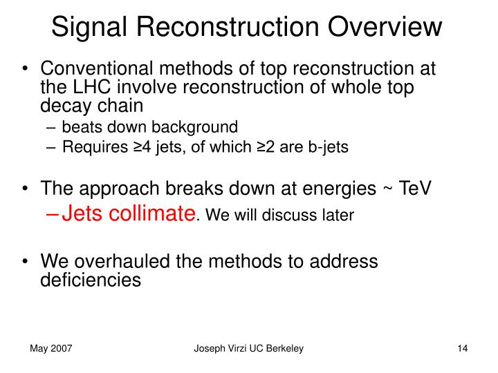 Signal Reconstruction Overview