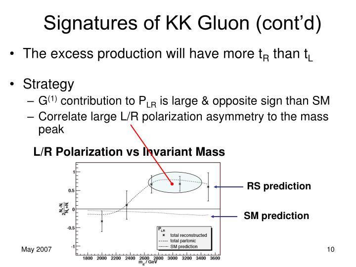 Signatures of KK Gluon (cont'd)