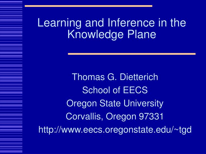 learning and inference in the knowledge plane n.