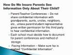 how do we insure parents see information only about their child1