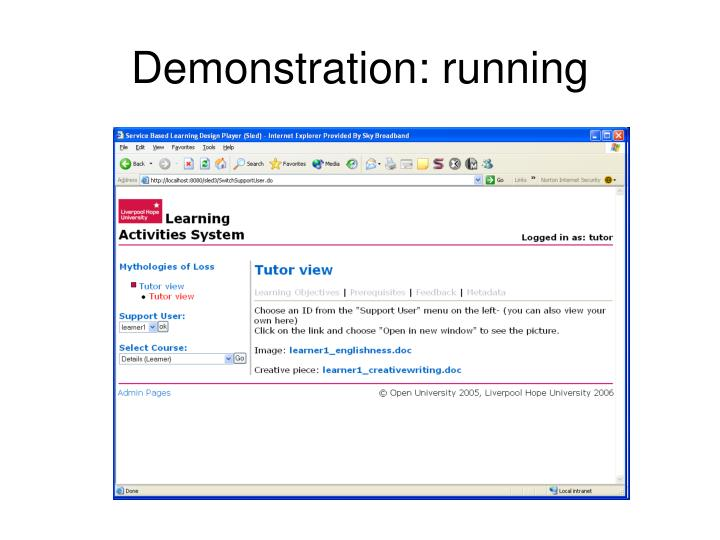 Demonstration: running
