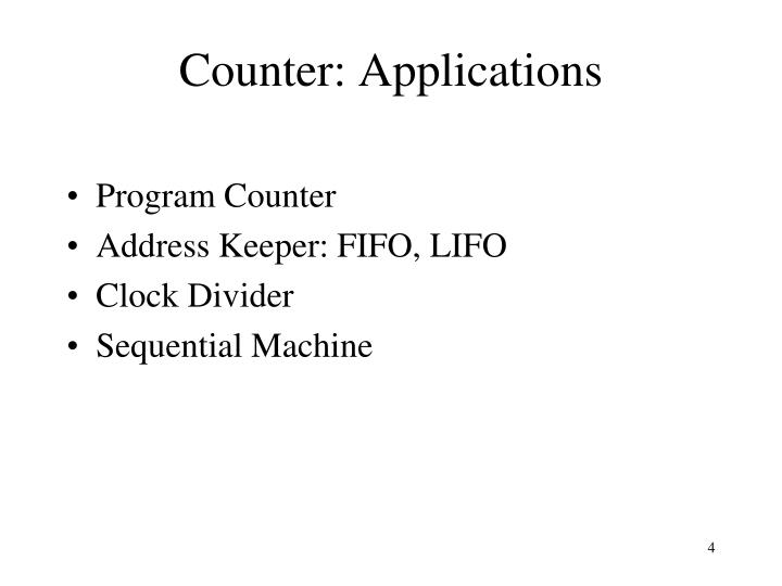 Counter: Applications