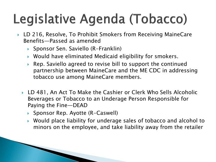 Legislative Agenda (Tobacco)