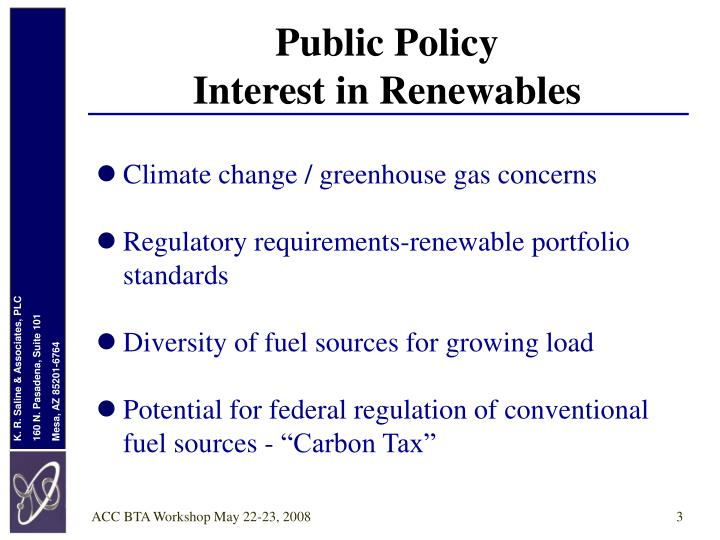 Public policy interest in renewables