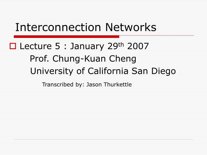 interconnection networks n.