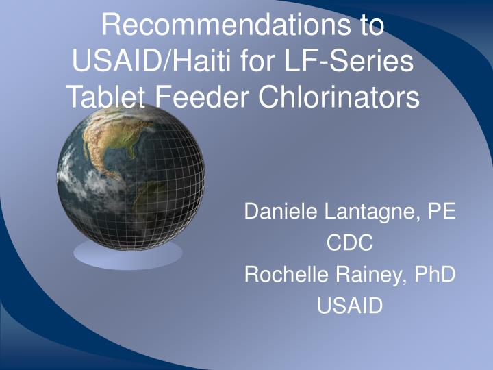 Recommendations to usaid haiti for lf series tablet feeder chlorinators