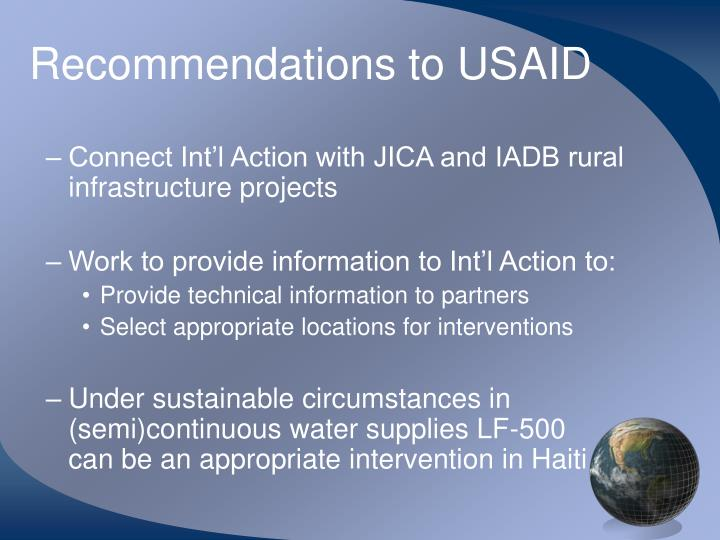 Recommendations to USAID