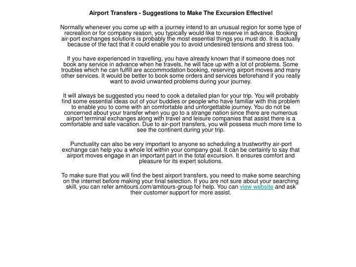 Airport Transfers - Suggestions to Make The Excursion Effective!