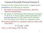 canonical ensemble partition function z