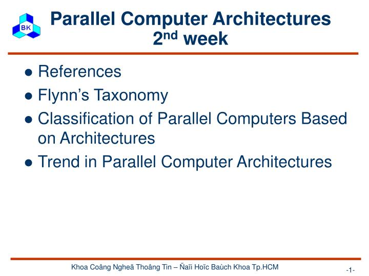 parallel computer architectures 2 nd week n.