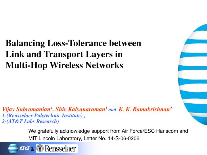 Balancing loss tolerance between link and transport layers in multi hop wireless networks