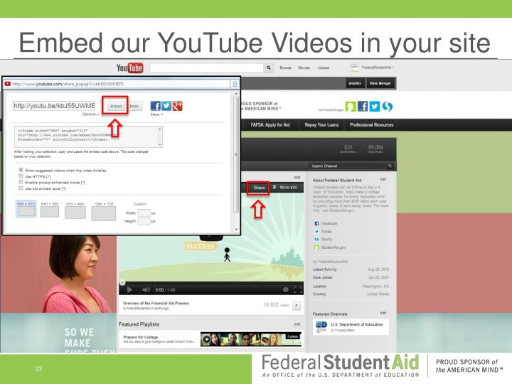 Embed our YouTube Videos in