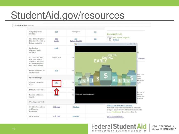 StudentAid.gov/resources