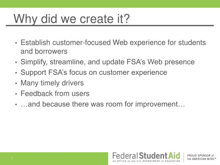 Why did we create it?
