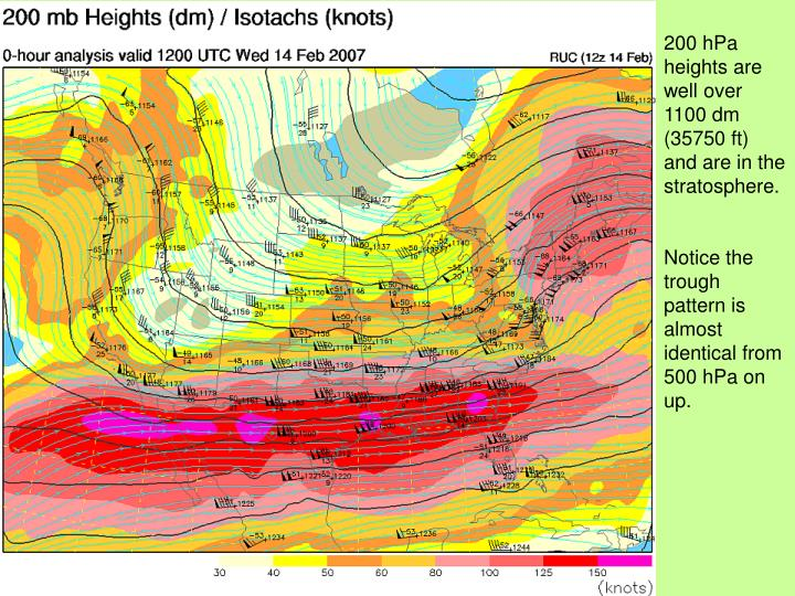 200 hPa heights are well over 1100 dm (35750 ft) and are in the stratosphere.