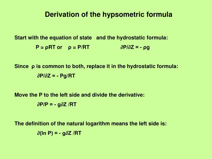 Derivation of the hypsometric formula