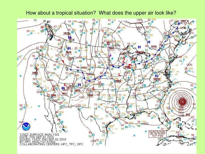 How about a tropical situation?  What does the upper air look like?