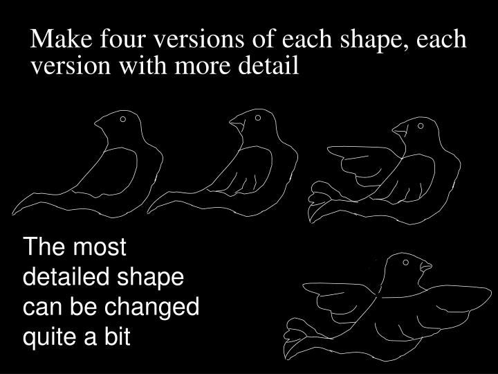 Make four versions of each shape, each version with more detail