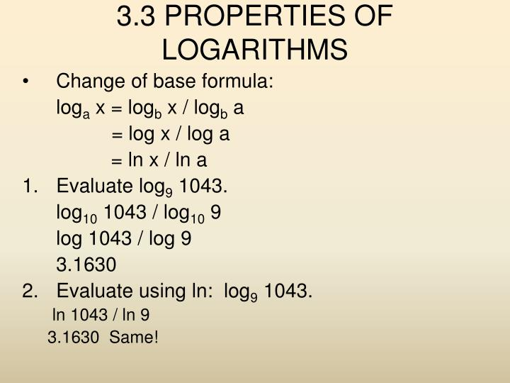 3 3 properties of logarithms