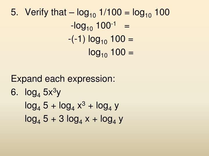 Verify that – log