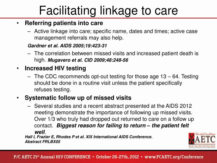 Facilitating linkage to care