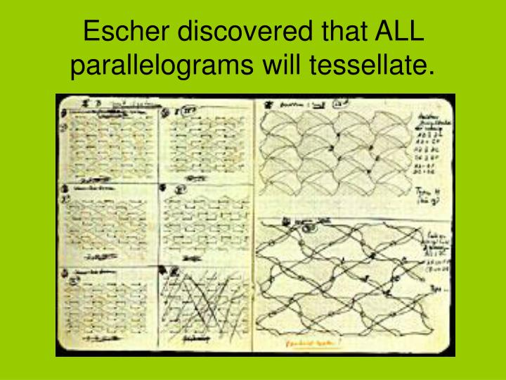 Escher discovered that ALL parallelograms will tessellate.